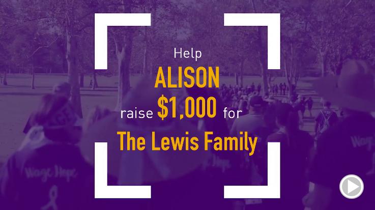 Help Alison raise $1,000.00